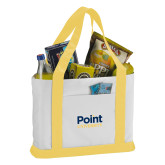 Contender White/Gold Canvas Tote-Point University Vertical