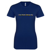Next Level Ladies SoftStyle Junior Fitted Navy Tee-I Am Point University