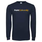 Navy Long Sleeve T Shirt-Point University