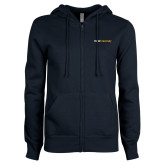 ENZA Ladies Navy Fleece Full Zip Hoodie-Point University