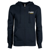 ENZA Ladies Navy Fleece Full Zip Hoodie-Point University Vertical