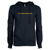 ENZA Ladies Navy Fleece Full Zip Hoodie-I Am Point University