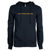 ENZA Ladies Navy Fleece Full Zip Hoodie-We Are Point University