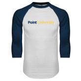 White/Navy Raglan Baseball T Shirt-Point University