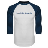 White/Navy Raglan Baseball T Shirt-I Am Point University
