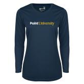 Ladies Syntrel Performance Navy Longsleeve Shirt-Point University