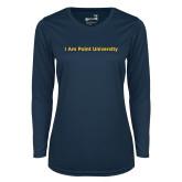Ladies Syntrel Performance Navy Longsleeve Shirt-I Am Point University