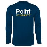 Performance Navy Longsleeve Shirt-Point University Vertical