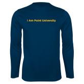 Performance Navy Longsleeve Shirt-I Am Point University