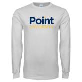 White Long Sleeve T Shirt-Point University Vertical
