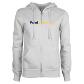ENZA Ladies White Fleece Full Zip Hoodie-Point University