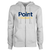 ENZA Ladies White Fleece Full Zip Hoodie-Point University Vertical