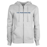 ENZA Ladies White Fleece Full Zip Hoodie-I Am Point University