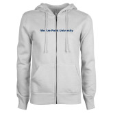ENZA Ladies White Fleece Full Zip Hoodie-We Are Point University