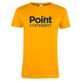 Ladies Gold T Shirt-Point University Vertical