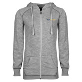 ENZA Ladies Grey/Black Marled Full Zip Hoodie-Point University