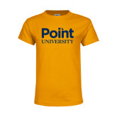 Youth Gold T Shirt-Point University Vertical