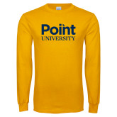 Gold Long Sleeve T Shirt-Point University Vertical