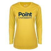 Ladies Syntrel Performance Gold Longsleeve Shirt-Point University Vertical
