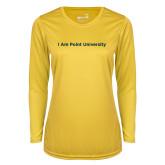 Ladies Syntrel Performance Gold Longsleeve Shirt-I Am Point University