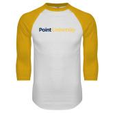 White/Gold Raglan Baseball T Shirt-Point University