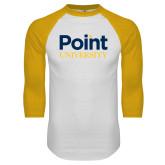 White/Gold Raglan Baseball T Shirt-Point University Vertical
