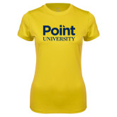 Ladies Syntrel Performance Gold Tee-Point University Vertical