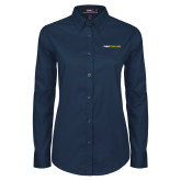 Ladies Navy Twill Button Down Long Sleeve-Point University