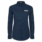 Ladies Navy Twill Button Down Long Sleeve-Point University Vertical
