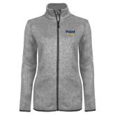 Grey Heather Ladies Fleece Jacket-Point University Vertical