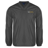 V Neck Charcoal Raglan Windshirt-Point University