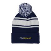 Navy/White Two Tone Knit Pom Beanie w/Cuff-Point University