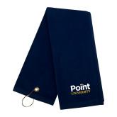 Navy Golf Towel-Point University Vertical