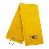 Gold Golf Towel-Point University Vertical