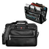 Wenger Swiss Army Leather Black Double Compartment Attache-Official Logo Debossed
