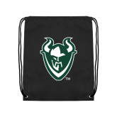 Black Drawstring Backpack-Viking Head