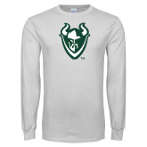 White Long Sleeve T Shirt-Viking Head