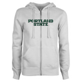 ENZA Ladies White Fleece Full Zip Hoodie-Portland State