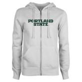 ENZA Ladies White Fleece Full Zip Hoodie-Portland State