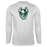 Performance White Longsleeve Shirt-Viking Head