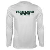 Performance White Longsleeve Shirt-Portland State