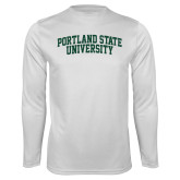 Performance White Longsleeve Shirt-Arched Portland State