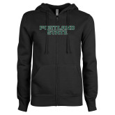 ENZA Ladies Black Fleece Full Zip Hoodie-Portland State