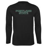 Performance Black Longsleeve Shirt-Portland State
