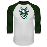White/Dark Green Raglan Baseball T-Shirt-Viking Head