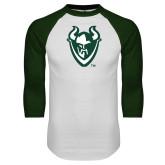 White/Dark Green Raglan Baseball T-Shirt-Viking Head