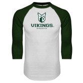 White/Dark Green Raglan Baseball T-Shirt-PS Shield Stacked