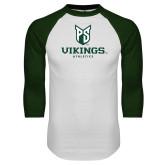 White/Dark Green Raglan Baseball T-Shirt-PS Shield Stacked