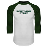 White/Dark Green Raglan Baseball T-Shirt-Portland State