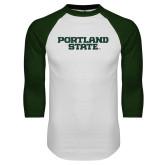 White/Dark Green Raglan Baseball T-Shirt-Portland State